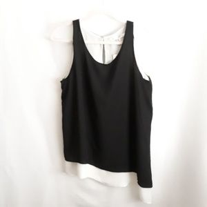 Max Studio black white layered tank top NWT